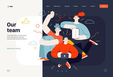 Business Topics - Our Team, Web Template. Flat Style Modern Outlined Vector Concept Illustration. A Group Of People, Crew, Team, Posing Together. Business Metaphor.