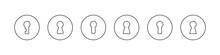Keyhole Icons. Linear Design. Lock Icons. Keyhole Vector Icons Isolated On White Background. Vector Illustration