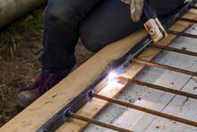 A Man Welds A Metal Frame To Build An Aviary, Welding Metal Close Up.