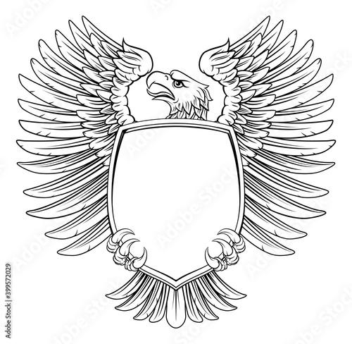 Obraz na plátne An eagle hawk or flacon shield design element in a vintage engraved woodcut styl