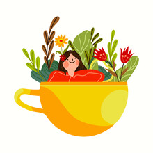 A Smiling Girl Soaking In A Coffee Cup, With Flowers All Around. Best For Illustration Of Break Time, Me Time. Symbol Of Enjoying Leisure Time, Happy Girl Enjoying Coffee.