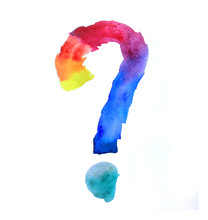 Rainbow Punctuation Mark Question Exclamation Mark, Illustration Of Punctuation Marks Rainbow All Colors With A Transition From Yellow To Purple. Who Asks In The Ad