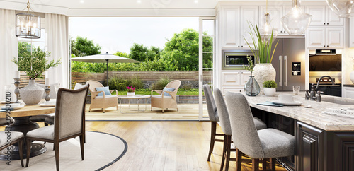 Tela Beautiful open plan kitchen and dining area with patio doors to the garden