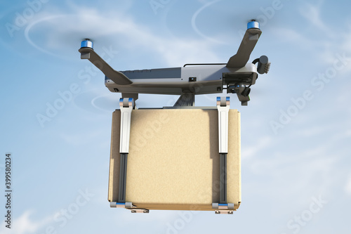 Tela Flying robot courier delivering a box. Safe delivery concept