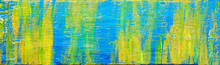 Art Abstract Panorama; Beautiful Creative Background Texture, Painted In Yellows, Gold And Blue - Painting Concept For Design - In Long, Thin Header / Banner.