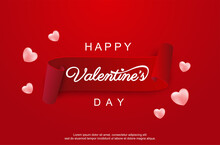 Happy Valentines Day Greeting Card 14 February Heart Romantic Love Background Sale Design Template With Gift Box Poster Banner Sale.