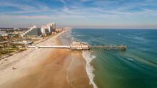 """""""Daytona Beach, FL USA - 12-10-2020: Drone Shot Facing The Main Street Pier At The Daytona Beach Boardwalk."""""""