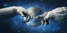 Astronaut Hands And On Outer Space Background. Elements Of This Image Furnished By NASA.