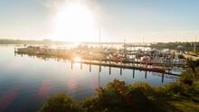 """""""Daytona Beach, FL USA - 12-10-2020: Sunrise Shot Of Yachts In The Harbor Of Halifax River."""""""