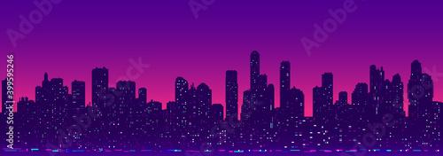 Fototapeta Futuristic cityscape night light obraz
