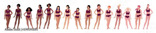 Vector illustration set of female characters Fotobehang