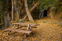 Picnic Area Surrounded By Nature, A Waterfall In The Background And A Bed Of Autumn Leaves Of Various Colors Decorate The Whole