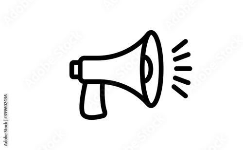 Obraz Megaphone icon. Loudspeaker linear vector illustration. Speech and announcement symbol. - fototapety do salonu