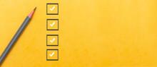 Marking On Checklist Box. Checklist Concept, Copy Space
