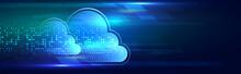 Cloud Computing Concept. Futuristic Business Network Concept. Hi-tech Cloud Connection Technology Background.