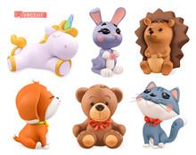 Funny Little Animals. Unicorn, Bunny, Hedgehog, Dog, Bear, Cat