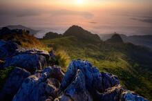 View Point, Sea Mist, Mountain With Sunrise At Doi Pha Mon Chiang Rai Popular Tourist Places