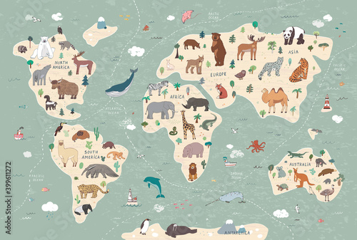 Fototapeta premium Animals vector hand drawn world map