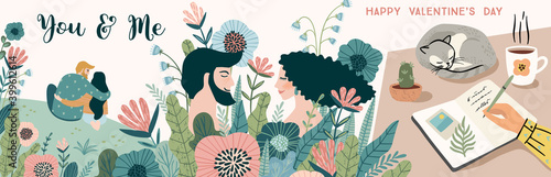Romantic illustrations with men and women Fototapet