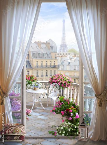 Obraz na płótnie window flower paris france design