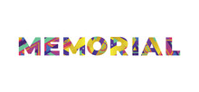 Memorial Concept Retro Colorful Word Art Illustration