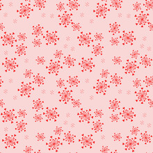Vector Seamless Pattern With Abstract Snowflakes And Tiny Hearts. Doodle Style Minimalist Background. Subtle Red And Pink Texture. Elegant Repeat Design For Decor, Print, Textile, Wallpapers, Wrapping