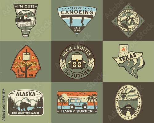 Valokuvatapetti Vintage hand drawn travel badges set