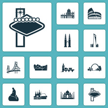 Culture Icons Set With Gateway Arch, Petronas Twin Towers, Little Mermaid Statue And Other Condo Elements. Isolated Vector Illustration Culture Icons.