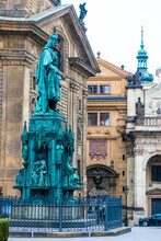 Statue Of The King Charles IV, Krizovnicke Square, Just Next To Charles Bridge In Josefov, Prague, Czech Republic