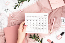 Desktop With Calendar For January 2021 And Office Supplies. Home Office, Social Media Blog, Schedule, Planning Concept