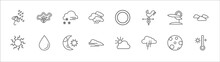 Outline Set Of Weather Line Icons. Linear Vector Icons Such As Isobars, Blizzard, First Quarter, Patchy Fog, Clouds, Sunny, Water Drop, Starry Night, Foggy, Downpour, Hot