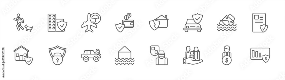 Fototapeta outline set of insurance line icons. linear vector icons such as building insurance, crash, disaster, sinking, license, real estate insurance, locked padlock excessive weight for the vehicle, flood