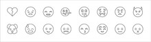 Outline Set Of Emoji Line Icons. Linear Vector Icons Such As Anguished Emoji, Grinning Emoji, Stupid Pouting Angry With Horns Dog Embarrassed Proud Slightly Frowning Shy Muted