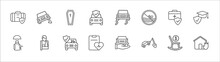 Outline Set Of Insurance Line Icons. Linear Vector Icons Such As Stone On The Road, Coffin, Slippery Road, Medical Insurance, Education Insurance, Elderly, Broken Arm, Frontal Crash, Wellness, Towed