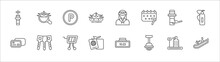 Outline Set Of Airport Terminal Line Icons. Linear Vector Icons Such As Airport Searchor, Parking Square, Stewardress Head, Airport Tower, Extinguisher, Two Cit Cards, Key With Key Chain, Duty Free
