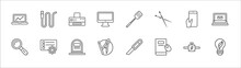 Outline Set Of Tools And Utensils Line Icons. Linear Vector Icons Such As Hosepipe Tool To Extinguish Fire Or Gardening, Printer With Blank Paper Sheet, Utensils, Hand Phones, Monitor With Message