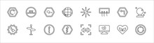 Outline Set Of User Interface Line Icons. Linear Vector Icons Such As Move Content, Scribble Broken Line, Solar Recycle, Turn Left Only, Psychic, Right Arrow With Turn, Road, Arrow With Scribble, Up