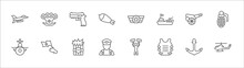 Outline Set Of Army Line Icons. Linear Vector Icons Such As Knuckle, Pistol, In, Canon, Granade, Submarine Front View, Patriot, Bomb Detonation, General, Bulletproof, Helicopter