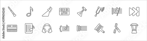 Fotografia outline set of music line icons