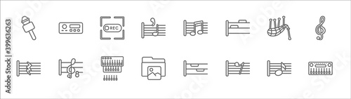 outline set of music line icons Fotobehang