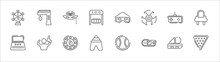 Outline Set Of Entertainment And Arcade Line Icons. Linear Vector Icons Such As Game Machine, Masquerade, Virtual Reality Glasses, Controls, Cinema Seat, Arcade Machine, Shooter, Board Games,