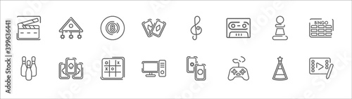 outline set of entertainment and arcade line icons Fototapete