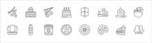 Outline Set Of Food Line Icons. Linear Vector Icons Such As Fast Food Restaurant, Maki, Restaurant, Hot Coffee Cup With Hearts, Drink In A Coconut, Eggs Sillhouettes, Plastic Water Bottle, Onion