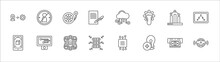 Outline Set Of General Line Icons. Linear Vector Icons Such As Impeachment, Inflate Tire, Cloud Service, Business Performance, Information Architecture, Ar App, Information Technology, Data Science,