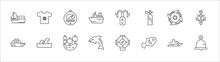 Outline Set Of Nautical Line Icons. Linear Vector Icons Such As Shirt, Barometer, Bait, Ship Engine Propeller, Big Anchor, Yacht Facing Right, Ocean Waves, Old Galleon, Dolphin, Fish Facing Right,