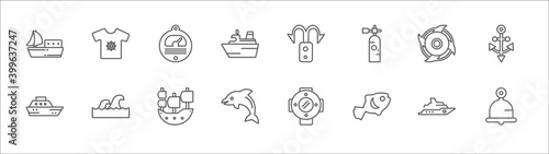 Fotografía outline set of nautical line icons
