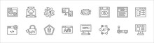 Outline Set Of Technology Line Icons. Linear Vector Icons Such As Email Marketing, Marketing Automation, Uptime And Downtime, Serif Font, Type Hierarchy, Website Optimization, Growth Hacking, Css3,