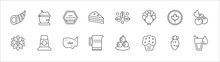 Outline Set Of Thanksgiving Line Icons. Linear Vector Icons Such As Porridge, Thanksgiving, Fall, Canada, Berries, Chrysanthemum, Pilgrim, United States Of America, Jug, Muffin, Glass Of Water