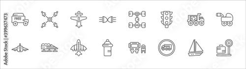outline set of transport line icons Fototapete