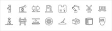 Outline Set Of Industry Line Icons. Linear Vector Icons Such As Oil Pumps, Tanks, Product, Windmill, Train Cargo, Derrick, Barrier, Assembly Line, Industrial Tread, Boxes, Safety Mask
